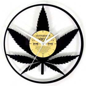 yesterday vinyl  clock cannabis leaf 550x550